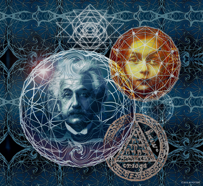 Einstein, Illustration by JK Potter for Tim Powers book published by Subterranean Press