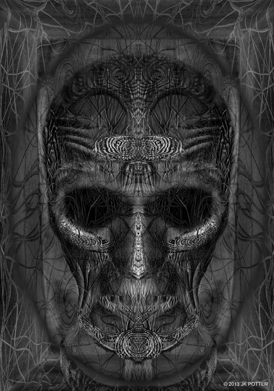 skull, Illustration by JK Potter for Tim Powers book published by Subterranean Press