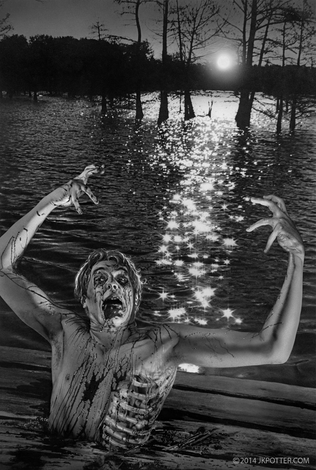 Illustration by JK Potter for Stephen King, Skeleton Crew, horror, grotesque, macabre, weird, supernatural, surreal, Scream/Press, The Raft
