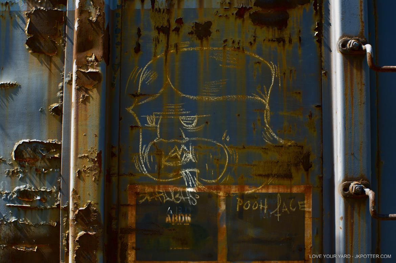 shrughs, pooh face, tags, graffiti, boxcar, train, boxcar tags, railroad graffiti, freight train graffiti, rail art, rail graffiti, boxcar, freight, moniker