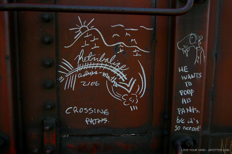 retribalize, tags, graffiti, boxcar, train, boxcar tags, railroad graffiti, freight train graffiti, rail art, rail graffiti, boxcar, freight, moniker