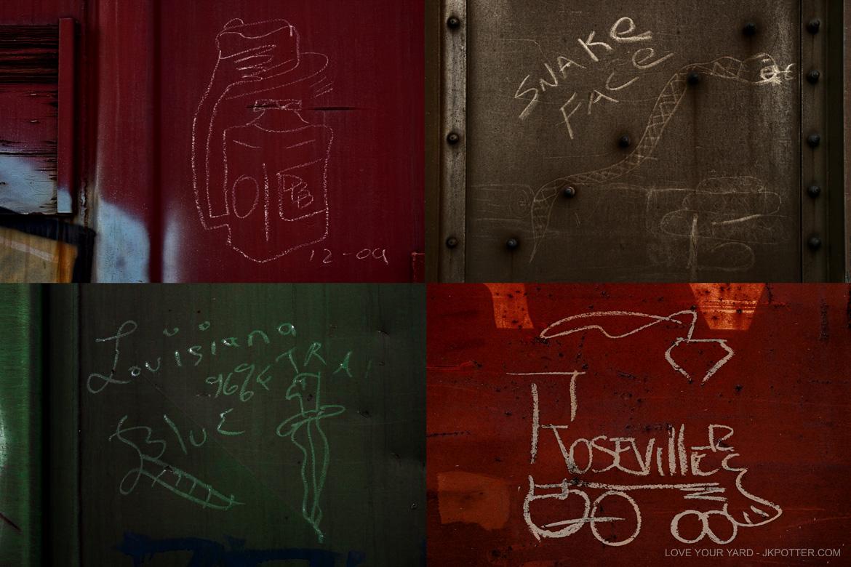 roseville, tags, graffiti, boxcar, train, boxcar tags, railroad graffiti, freight train graffiti, rail art, rail graffiti, boxcar, freight, moniker
