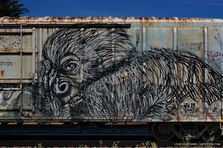 gorilla, tags, graffiti, boxcar, train, boxcar tags, railroad graffiti, freight train graffiti, rail art, rail graffiti, boxcar, freight, moniker